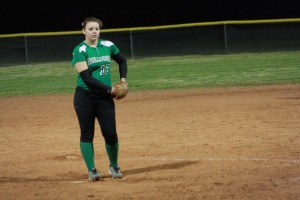 Bulldog pitcher Savannah Price stares down an Indian batter during the Dawgs 7-6 win Friday night in the Dawg Pound. Price also had two hits for the Bulldogs. Photo by Lou Martin