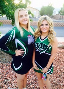 Sisters Burgandy and Emerald Hall model their VVHS Cheerleading uniforms. Burgandy is a Varsity Cheerleader and little sister Emerald is on the Jr. Varsity team. Submitted Photo
