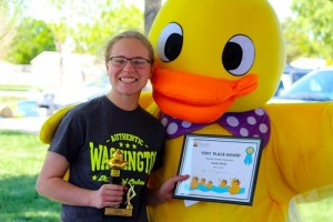 Ann Hunt had the first place duck in the Mesquite Chamber's 2016 Ducky Derby. And took home the winning prize of $250. Photo by Teri Nehrenz.