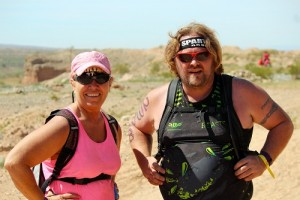 Mike James, an operations manager for a demolition company from Seattle, WA and Jodi Agin-Batten, a health care professional from Payette, ID, met at this year's Spartan Races in Mesquite and kept each other company during their event. James expects to complete nine races this year, three of them being planned in just one weekend in Hawaii. Agin-Batten ran her first of three races in Mesquite on March 19. Photo by Teri Nehrenz.