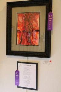 "Second place prize winners in the April Artists and Poets exhibit at the Mesquite Fine Arts Gallery were artist Boots Nelson for his ""Icicles in the Window"" and poet D. Gary Christian for ""December Days."" Photo by Barbara Ellestad."