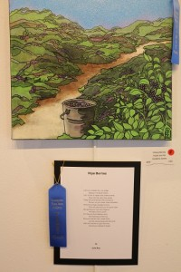 """Artist Geraldine Zarate """"Picking Berries"""" and poet Julie Boe """"Ripe Berries"""" won First Place in the Mesquite Fine Arts Gallery April Artists and Poets exhibit. Photo by Barbara Ellestad."""