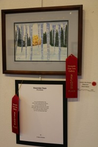 "The Best of Show award for April's Artists and Poets exhibit at the Mesquite Fine Arts Gallery went to artist Karlynn Jones and poet Marie Tollsturp for their dual ""Color the World Red."" Photo by Barbara Ellestad."