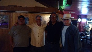 """From left to right are the four men who make up Bottoms Up; Dan Erickson, Rory """"Kim"""" Thomsik, Sam Calbraith and John Blandi. Photo by Stephanie Frehner."""