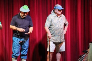 Mike Rechcygiel and Gary Williams are just two of the Sun City Sound guys who performed a humorous rendition of John Denver's '18 Holes' a spin off of Johnny Cash's 'Sixteen Tons'.