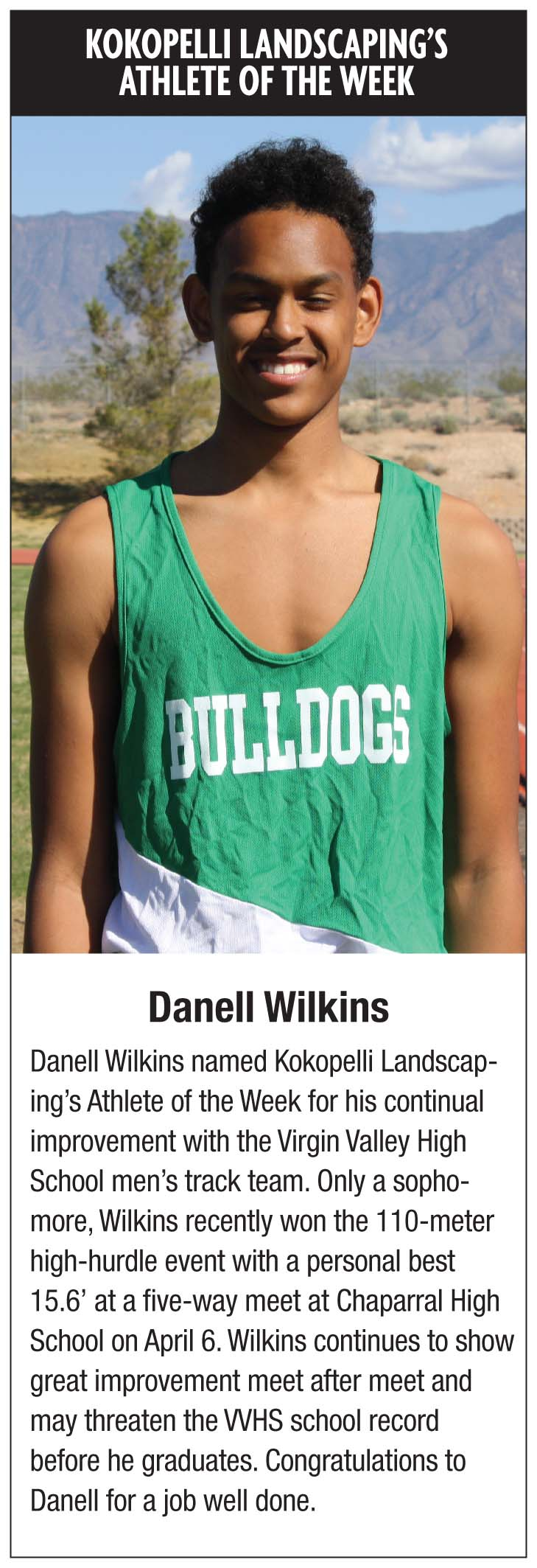 Danell Wilkins-Kokopelli Althete of the Week 4-14-16