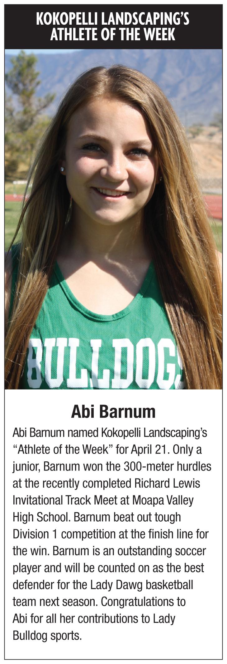 Kokopelli Landscaping's Athlete of the Week- Abi Barnum