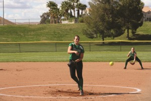 Bulldog Adri Wakefield strikes out a Dragon batter on her way to a one hit 10-0 shutout of Del Sol High School Monday afternoon, April 11 in the Dawg Pound. Photo by Lou Martin.