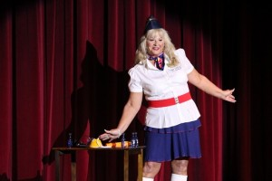 """First runner up to Ms. Senior Mesquite 2016 is Gail Laird.  In the talent portion of the competition, Laird performed an extremely comical rendition of her 'Flight Attendant"""" duties.  Photo by Teri Nehrenz."""