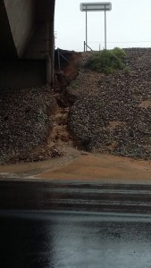 Water flowing off of the interstate was causing its own issues, as seen here from Old Highway 91 in Beaver Dam. The flood waters caused erosion to come off of the overpass and expose some support beams along with moving dirt onto the roadway. Photo courtesy of Sonny Graham.