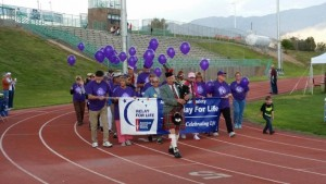 The Survivor's Lap, which began at 6 p.m. on April 15 at the 2016 Mesquite Relay For Life, was led by local businessman and Citizen of the Year Dennis Hangey, as he played his bagpipes. Photo courtesy of Jesselyn Bickley..