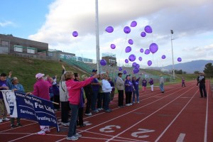 Survivors release their balloons after finishing the Survivors Lap at the 2016 Mesquite Relay For Life on April 15. Photo courtesy of Jesselyn Bickley.