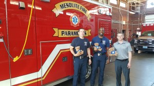 Andrew Bird with Shelter Insurance dropped off some stuffed Teddy Bears to Mesquite Fire and Rescue.  The bears are given to children who are involved in tragic or stressful events.  Photo submitted.