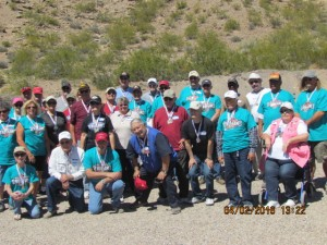The 2016 Mesquite Senior Games Pistol Shoot was held on Saturday, April 2 at the Mesquite Shooters Pistol Club's range in Littlefield, AZ.  Above are the bronze, silver and gold medal winners, many having won multiple medals in both rim fire and center fire shooting. Photo submitted.