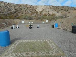 Moving targets are just one of the ways shooters can practice their skills in the new and constantly improving Mesquite Shooter's Pistol Club Range in Littlefield, AZ.  There are presently five bays where shooters can practice their skills in a variety of ways.  Photo  by Brian Morton.