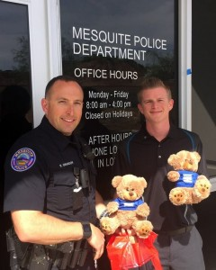 "Andrew Bird with Shelter Insurance dropped by the Mesquite Police Department and gave a large donation of stuffed bears. Patrol officers frequently give stuffed animals to children who are involved in tragic or stressful events. Officer Swanson met with Andrew and accept the stuffed animals. 'Thank you Andrew Bird and Shelter Insurance for such a wonderful donation to our community!"" Photo submitted."