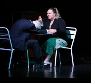 "Paul Benedict is Gordon, the 'Dead Man' in Dead Man's Cell Phone and Jenna Grubb plays Jean.  DMCP will hold their final performances on May 20 and 21 at the Mesquite Community Theatre, 150 N. Yucca St. at 7 p.m.  The show has been censored a bit so far but the May 21 show will not be censored according to Director Teri Nehrenz. The show is rated ""R"". Photo by Teri Nehrenz"