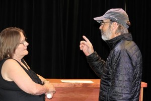 Patty Amore gets some 'stage' and acting tips from VVTG's Artistic Director Glen Bjornson. Bjornson is also the set designer for Dead Man's Cell Phone. Photo by Teri Nehrenz.