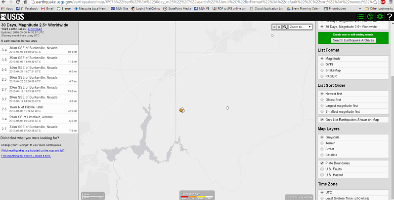 Series of earthquakes hit south of Bunkerville
