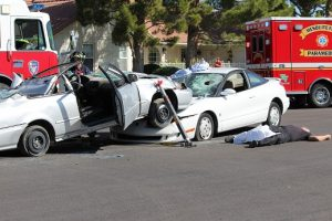 A fatal accident was staged in front of Virgin Valley High School on  Wednesday, May 11 as part of a program called 'Every 15 Minutes.'  The program is coordinated by the Mesquite Police Department along with various public service agencies.  Photo by Teri Nehrenz