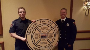 Cadet Josey Browning, left, who graduated from the 2016 Reserve Firefighter Academy, and his father, Mesquite Firefighter/EMT Keith Browning at the Mesquite Fire Rescue gala Saturday, April 23 celebrating the end of the 15-week academy. Photo submitted.