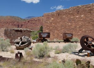 The side of the Wells Fargo bank and the Cassidy powder house are still visible.  Several exhibits are outside along an interpretive walking trail. Photo by Burton Weast.