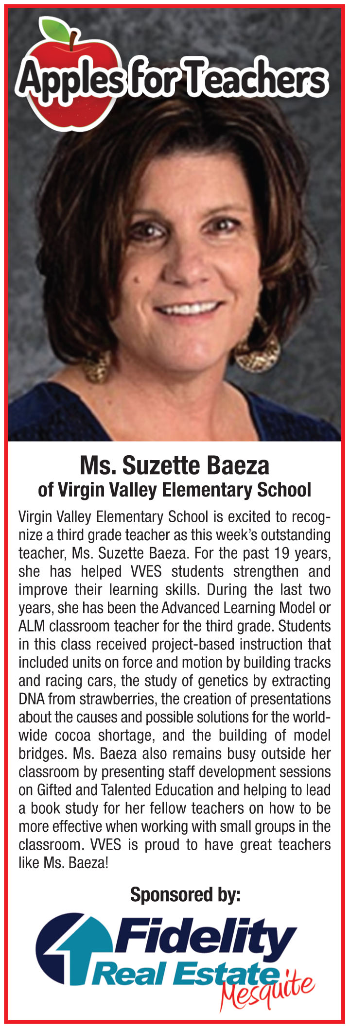 Fidelity Real Estate's Apples for Teachers-Susette Baeza