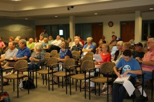 Mesquite residents were ready to speak in favor of or against a proposed dog park in the Redd Hills Park located on Fountain View Lane and Redd Hills Parkway. The Mesquite City Council shortened the discussion by speaking against it during mayoral and council comments. The proposal was voted down. Photo by Barbara Ellestad.