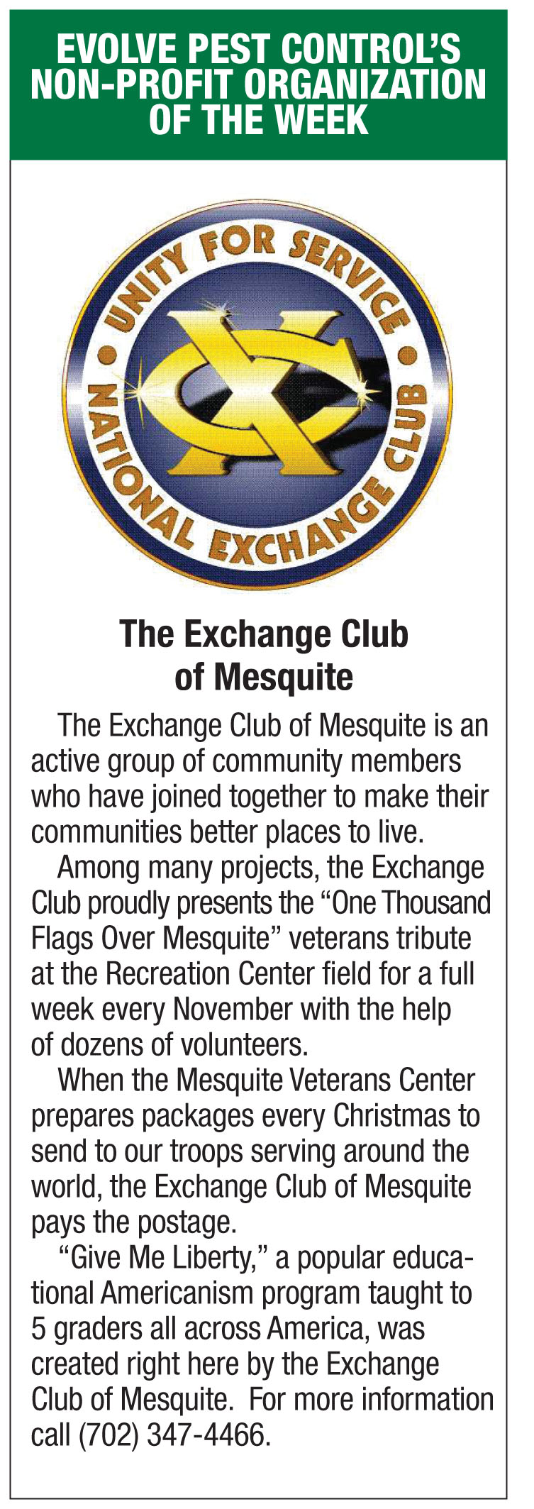 Evolve Pest Control's Non-profit of the week-Exchange Club