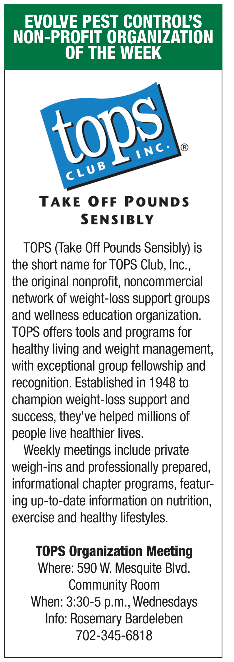 Evolve Pest Control's Non Profit of the week- TOPS