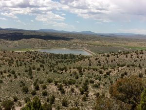 View looking toward the reservoir from a ridge top along Ash Canyon Trail, Echo Canyon State Park, NV - June 2016
