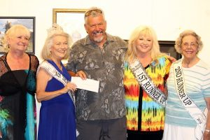 Larry LeMieux receives a donation on behalf of the Southern Nevada Symphony Orchestra from 2016 Ms. Senior Mesquite Jean Hardman and her court.  From left, Judy Brittain, Jean Hardman Ms. Senior Mesquite 2016, Larry LeMieux, Gail Laird First Runner Up and Elizabeth Merrill Second Runner Up.  Photo by Teri Nehrenz