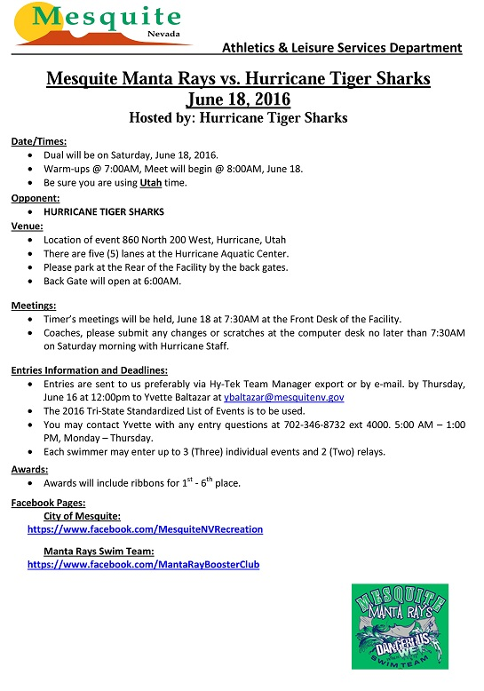 Swim Meet Information Guide vs. Hurricane Tiger Sharks 2016
