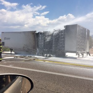 Normally, the driver of this company hauls highly hazardous materials which could have resulted in a more dangerous situation had this fire occurred with that load. Thankfully, the trailer he was hauling this time was only filled with empty plastic pallets. Photo by Grace Russell.