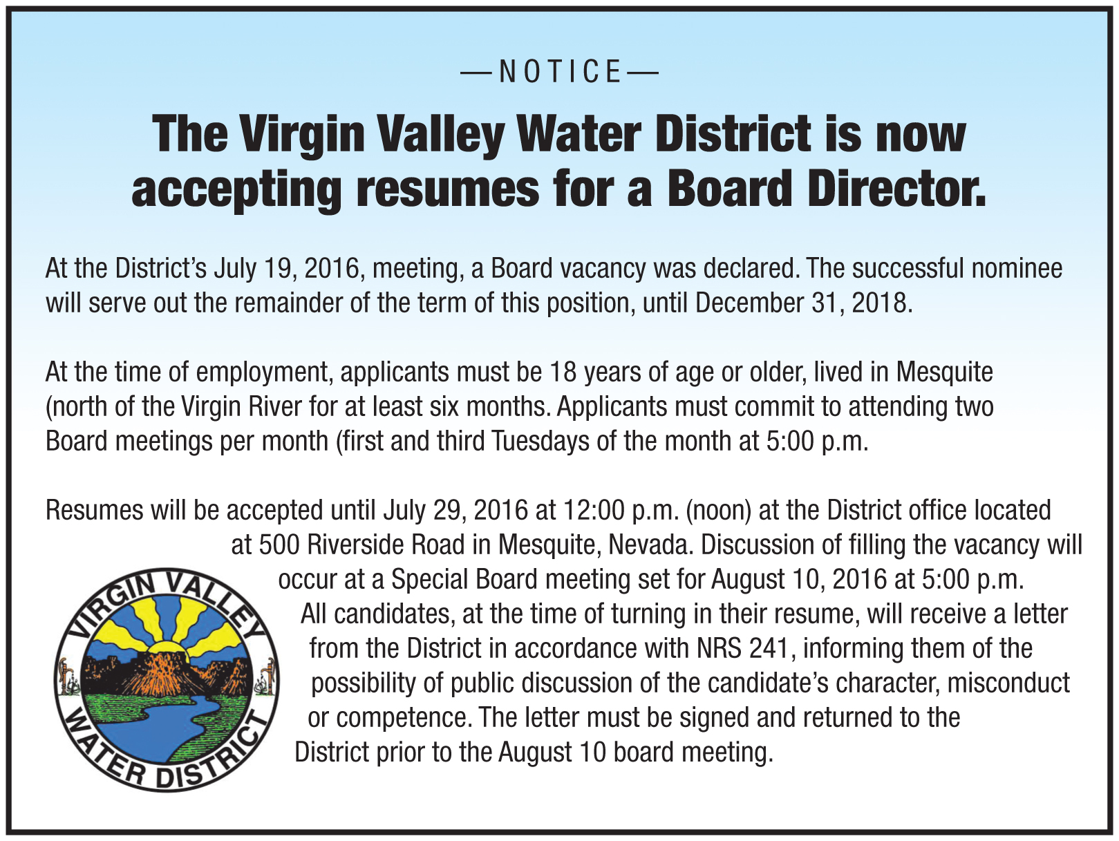 Virgin Valley Water District seeking new board member