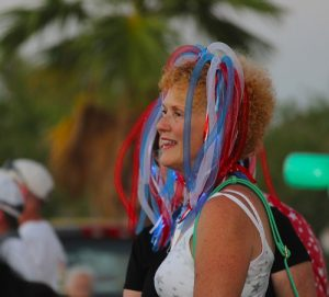 Mesquite Showgirl Betty King sports some patriotic headwear. Photo by Teri Nehrenz