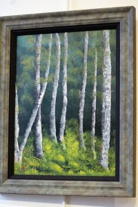 "Barr takes Sponsor's Choice award in gallery exhibit with oil painting titled ""Standing Tall in a Row.""  Photo by Teri Nehrenz"