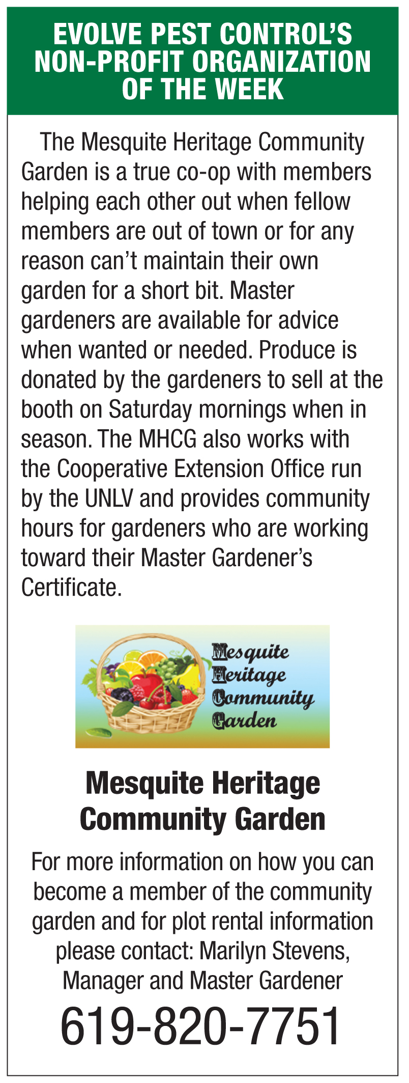 Evolve Pest Control's Non Profit of the week