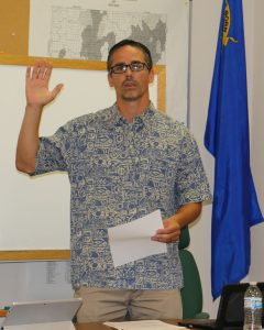 """Ben Davis was sworn in as the newest board member of the Virgin Valley Water District Tuesday night, taking the place of Robert """"Bubba"""" Smith who moved out of the area in July. Photo by Stephanie Frehner."""