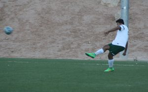 Bulldog Roman Perez late goal shot from 25 yards out gave the Dawgs a 3-2 victory over a scrappy Pirate team Monday afternoon at the Mesquite Sports and Events Center. Photo by Lou Martin