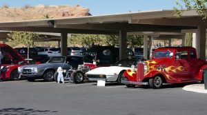 Just part of the several cars featured at the fifth annual Rotary Car Show.