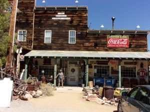 General store with Deb in front at Techatticup Mine Camp, NV - September 2016