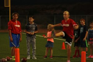 Brooklin Montoya winner in the 10-11 year girl category kicks at the recently completed NFL Punt, Pass and Kick competition. Montoya last year's sectional winner will attempt to repeat at this year's event.