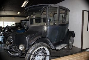 The first electric car, built in 1917, on display at the Montana Auto Museum.