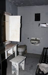 A two man cell in the Old Montana State Prison, built with plumbing in 1912.