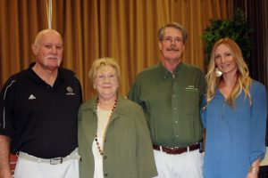 Four inductees into the VVHS Hall of fame from left to right, Kirk Hafen, Mary Lynn Leavitt, Greg Johnston and Nikki Hughes Owsley. All were honored at a luncheon and halftime festivities at Friday's homecoming game.