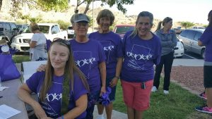 Becki Roberts, Mike Stringfellow, Mary Ann Hovde and Genny Reese, who recently moved to Mesquite from Colorado. Reese has had six people who were close to her commit suicide over the past 35 years. Reese feels awareness is important and so do her mother, aunt and friend who walked on Sept. 10 in support of her. Photo by Teri Nehrenz