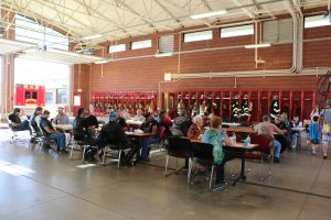 Many residents and visitors to Mesquite came by to talk with Mesquite Fire personnel and enjoy a freshly prepared breakfast Saturday, Oct. 15 in the MFD's Third Annual Pancake Breakfast that wraps up their participation in the national Fire Prevention Week each year. Photo by Stephanie Clark.