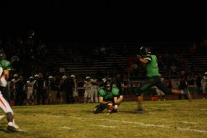 Bulldog kicker Cesar Zarate splits the crossbars in a recent game. Zarate's foot has been instrumental in recent wins. Zarate had a field goal and two extra points in the Dawgs 35-13 win over the Eagles Friday night in Boulder City.