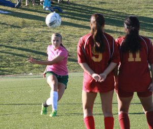 Lady Dawg Abbie Barnum made an amazing goal over a Dragon Wall high into the net on a direct kick giving the Dawgs a 2-0 lead. Barnum had the 'hat trick' three goals for the game.